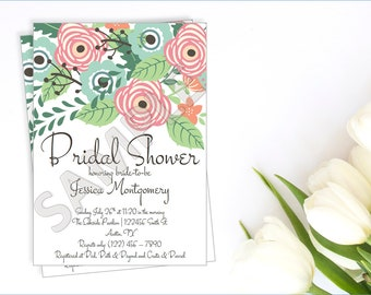 Floral Bridal Shower Invitation, Flower Bridal Shower Invite, Printable Bridal Shower Invite, Rustic Floral Invite, Vintage Floral Invite