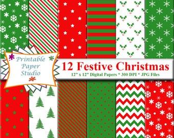 Festive Christmas Digital Paper Pack, Red White & Green Digital Christmas Paper Instant Download, Christmas Tree Digital Paper, Holly Paper