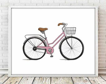 bike print, wall art print, nursery decor, Bicycle lover, Boyfriend gift, Girlfriend gift, vintage bicycle art, bike lover, bicycle gift