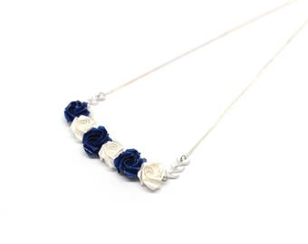 Necklace with blue and white origami flowers wedding Japanese paper