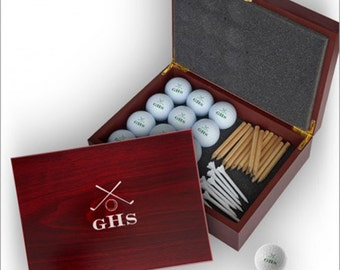 Personalized Golf Balls with Case - Monogram, Name or Initials - Golf Gift - 3856/3857
