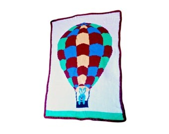 Color Chart Pattern for Hot Air Balloon, Knit, Crochet, Tunisian Crochet, Baby Blanket Design, Hot Air Balloon Design, Afghan Stitch