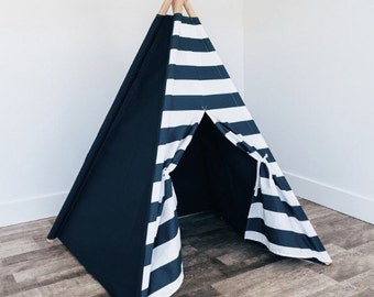 Kids teepee Navy and White Stripe Door with solid navy sides