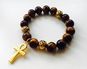 Tigers Eye bead bracelet,gold ankh charm,kemetic jewelry,spiritual bracelet kids tigers eye bracelet,gift for boys,gift for girls