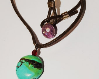 """Vintage Leather Turquoise Garnet and Amethyst Genuine Stone Necklace. 16.5"""""""