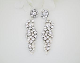 Statement wedding earring, Swarovski crystal and pearl bridal earring, Unique long drop chandelier earring