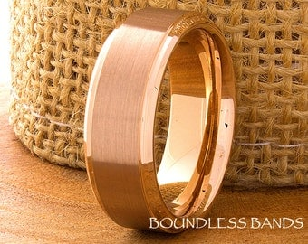 Tungsten Wedding Band Rose Gold Stepped Tungsten Band 8mm Mens Womens Tungsten Ring Anniversary Promise Engagement His Hers Comfort Fit New