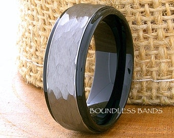 Tungsten Wedding Ring 8mm Hammered Two Tone Mens Womens Ring Anniversary Ring Black Tungsten Ring Promise Ring Engagement Ring Comfort Fit