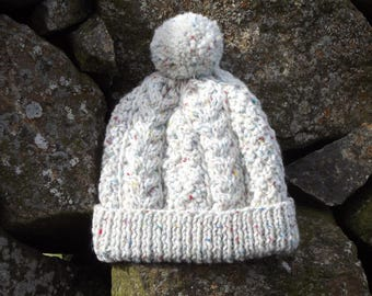 Hand Knit Child's Aran Bobble Hat
