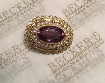Beautiful vintage 14k yellow gold Filigree pin & pendant combination, Oval Amethyst and Akoya Pearl Halo, 13.60 ct
