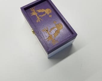 Desk organizer, 2 Birds on a Limb, Back to school, Laser Engraved Box, Treasure Box, Keepsake Box
