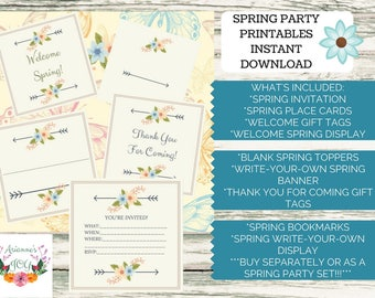 Boho/Spring Party Printables Complete Set Instant Download