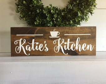 Personalized kitchen sign,  coffee cup kitchen, name kitchen sign, wood sign, wooden sign, kitchen decor, coffee sign, rustic sign, wal