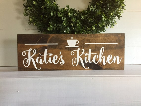 Personalized Kitchen Sign Coffee Cup Kitchen Name Kitchen