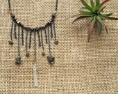 pyrite and quartz fringe choker: the star necklace NK304G