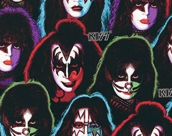 Kiss Fabric / Kiss Band Members Fabric / Gene Simmons 16591-2 BLACK by KISS, Ltd from KISS® Robert Kaufman Music Fabric / By The Yard