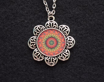 "Mandala Flower Necklace - ""Celebrate"", 24"" Silver Chain"