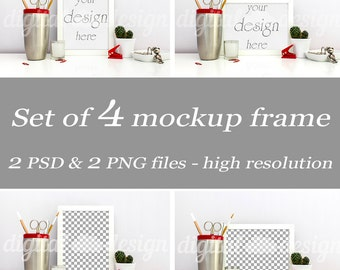 Set Stationery Mockup Silver Red Office Supplies Desk Styled Stock Photography Bundle Frame Mockup Download Frame Product Digital Background