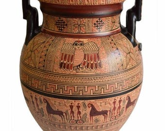For Sale Geometric Period Volute Krater Amphora Vase - National Museum Of Greece Replica