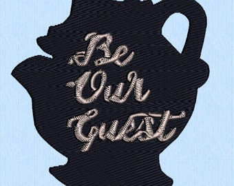 Be our guest- Mrs Potts- Beauty and the beast- embroidery design