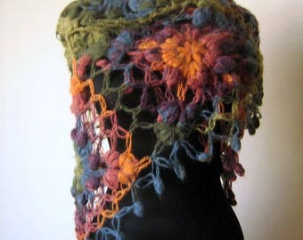 Crochet  Color Shawl,Mohair shawl, Scarf,Triangle Shawl, Neckwarmer , rainbow, Colorful, Green, Orange, Red, Blue
