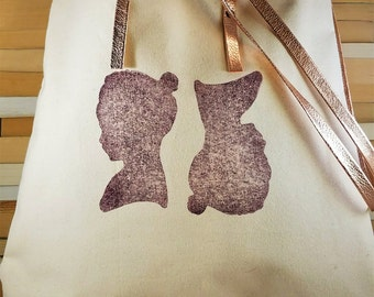 Handcrafted Hand Printed Silhouette Large Tote Bag