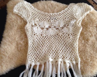 WHITE MACRAME TOP