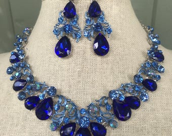 Regal Royal Sapphire Blue Rhinestone Statement Necklace and Dangle Earring Set...Wedding / Bridal / Prom / Pageant / Something Blue