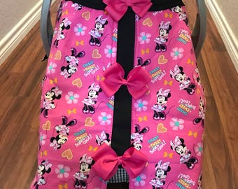 minnie mouse infant car seat canopy and handle pad