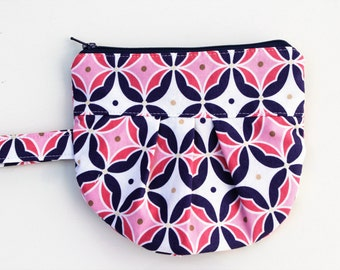 Pleated Zipper Pouch, Navy Blue and Pink Wristlet, Pleated Zipper Wristlet, Zipper Pouch, Ready to Ship