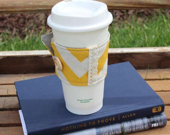 Yellow Chevron and Lace Coffee Cup Cozy, Reusable Coffee Cup Cozy, Fabric Coffee Cup Sleeve, Gift Idea, Teacher Gift, Gift for Her