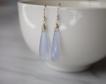 Light violet chalcedony long drop earrings