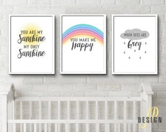 You are my Sunshine prints wallet posters set of 3 big girl room wall decor gift idea modern stylish minimalist designs 8x10