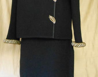 Vintage Mint Condition NOS Marco Polo '60s Black Knit 100% Wool Suit