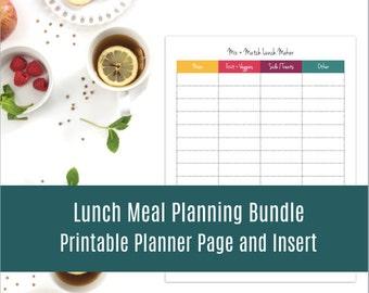 Lunch Meal Planning Kit: Organizing Printable, Planner Pages, Lunch Planner, Mom Planner, Weekly Planner Kit