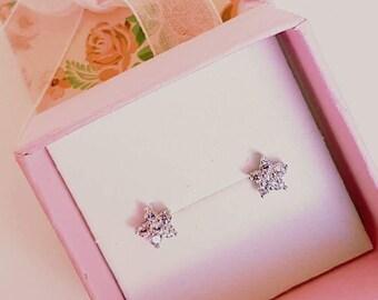 Flower Earrings / pink Earrings / Cubic Zirconia AAA