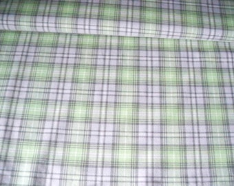 Green Grey Check, Suiting Fabric,  Polyester Rayon, Spandex Stretch, De-stash Skirt Fabric