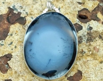 Dendritic Agate set in Sterling Silver Pendant