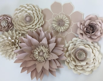 Blush pink and ivory paper flowers.  Set of 7 varieties.