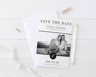 Modern Black and White Save the Date template // Save the date with photo // 5x7 save the date // printable save the date