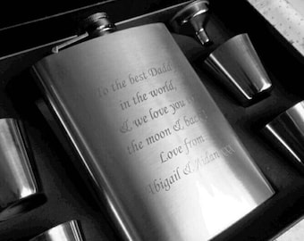 Engraved Large 8oz Stainless Steel Hip Flask, Tot Cups & Funnel Gift Set Boxed - Personalised