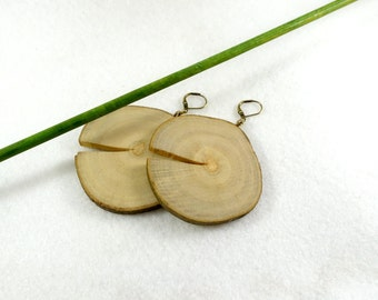 Large simple wood slices earrings