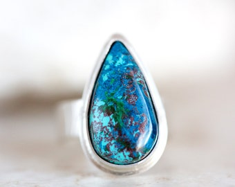 Shattuckite Ring, Turquoise Ring, Blue Gemstone Silver Ring Custom Made in Your Size