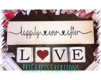 Happily Ever After LOVE wood painted sign blocks wedding anniversary