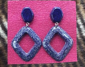 Purple glitter resin dangle earrings