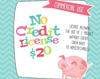 Commercial Use No Credit License, Digital Clipart License for Small Business