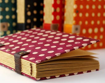 Diary, Coptic binding, Plum Book to peas, leaves kraft, pregnancy journal, travel diaries