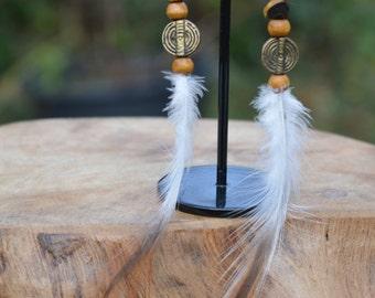 Tribal goddess tigers eye feather earrings, cruelty free, crystal earrings,  gypsy, bohemian