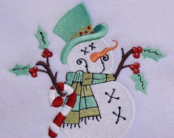 Snowman Embroidery Design - 5x7 Hoop - Christmas - Snowman - Instant Download - snowman design, broderie, Christmas design, prim embroidery