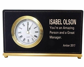 Custom Gift to Manager, Gift to the CEO, Executive Director Appreciation Gift, Thank you Personalized Gift to my Boss, Desk Clock, LB007